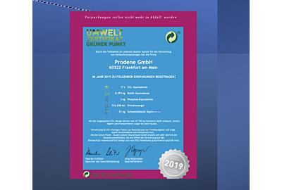 Nachhaltigkeit: Prodene GmbH erhält Umweltzertifikat