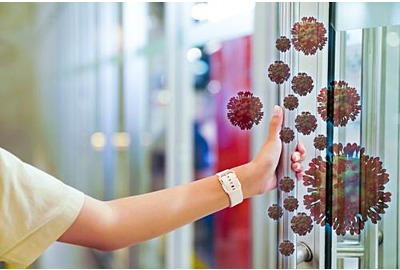 Übertragung eines Virus oder Bakteriums durch Berührung der Hände von Oberflächen