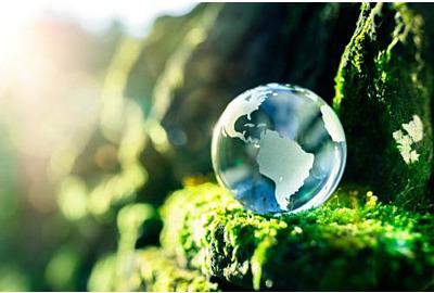Glaskugel im Naturkonzept für Umwelt und Naturschutz