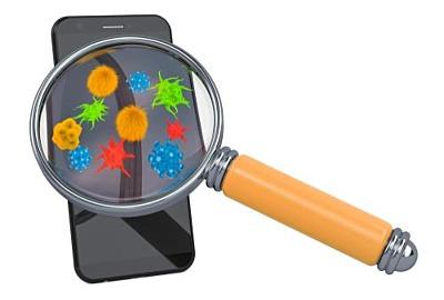 Smartphone, Handy mit Viren und Bakterien unter Lupe. 3D-Rendering